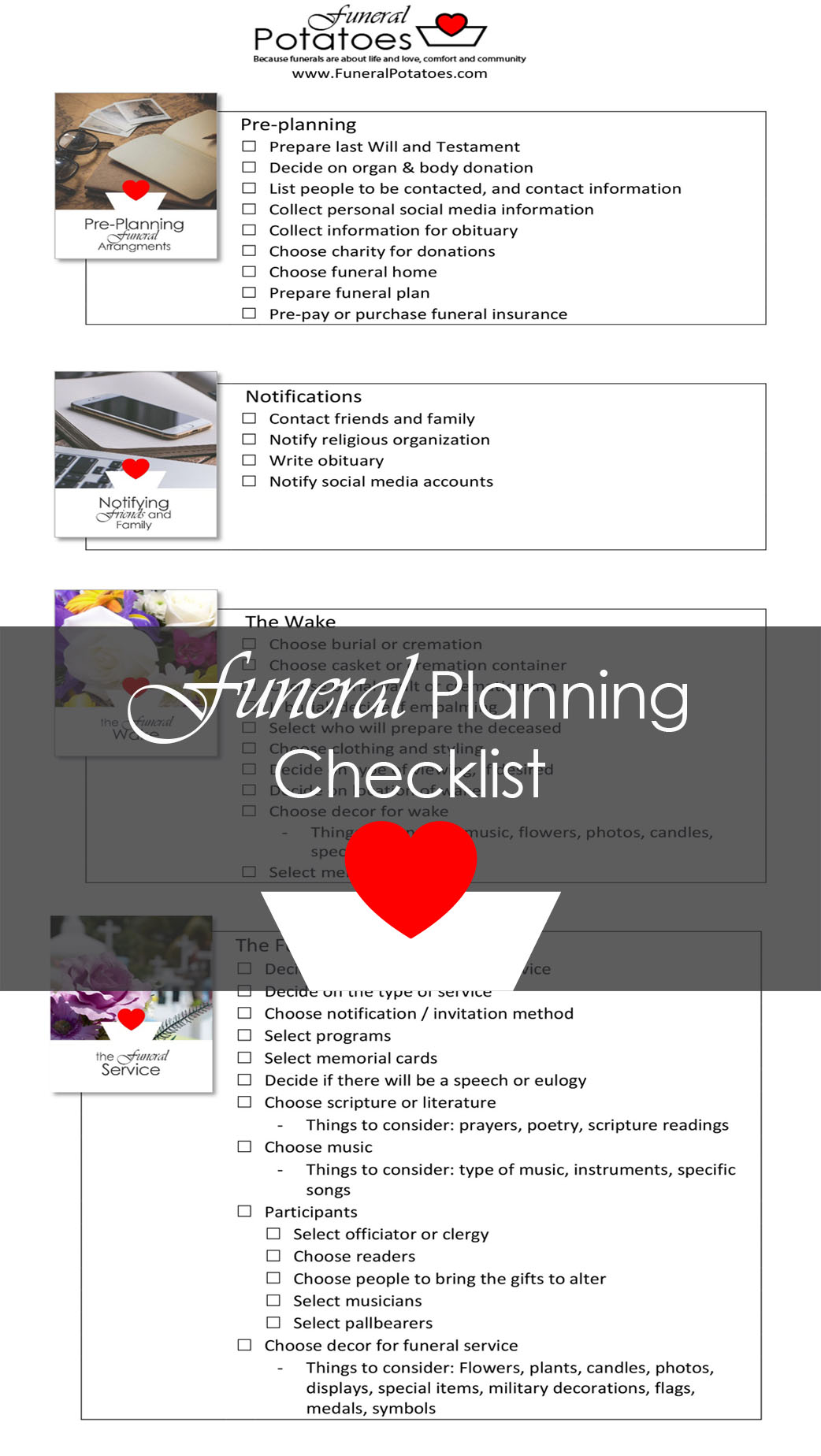 funeral planning checklist funeral potatoes
